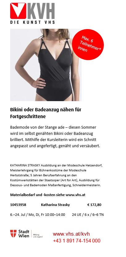 Bikini oder Badeanzug nähen für Fortgeschrittene @ Die Kunst VHS